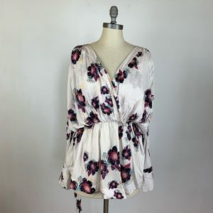 Free People Floral Oversized Blouse